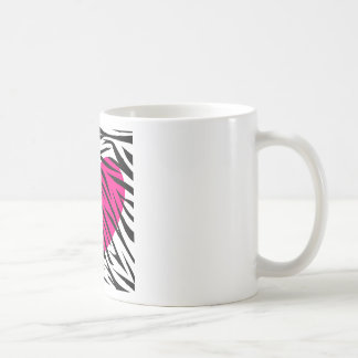 Hot Pink Heart and Zebra Stripes in Black and Whit Coffee Mug