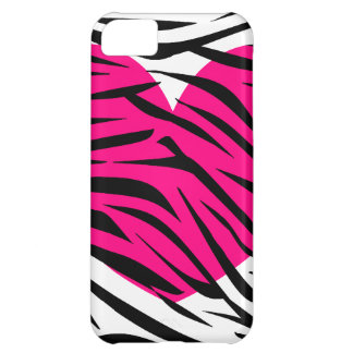 Hot Pink Heart and Zebra Stripes in Black and Whit iPhone 5C Cover