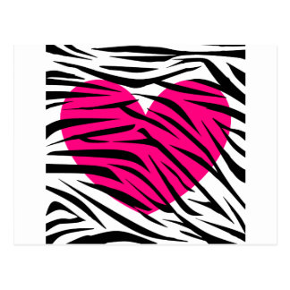 Hot Pink Heart and Zebra Stripes in Black and Whit Post Card