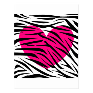 Hot Pink Heart and Zebra Stripes in Black and Whit Postcard