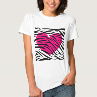 Hot Pink Heart and Zebra Stripes in Black and Whit Shirt