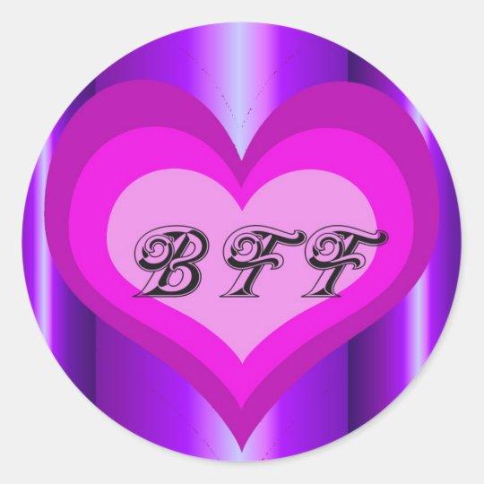 hot pink heart Best friends forever Classic Round Sticker
