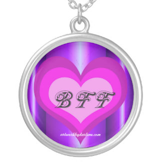 Hot Pink Heart BFF Round Pendant Necklace