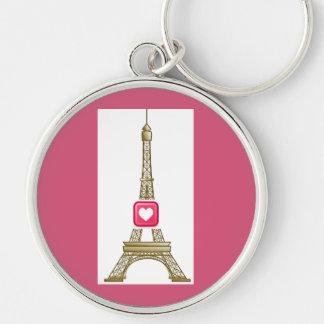 Hot Pink Heart Eiffel Tower Keychain