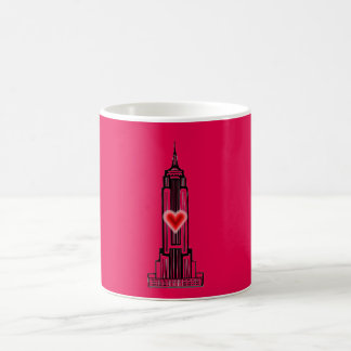 Hot Pink Heart Empire State Building Mug
