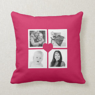 Hot Pink Heart Instagram Photo Collage Throw Pillow