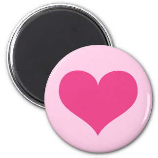 Hot pink heart love or Valentines day 2 Inch Round Magnet