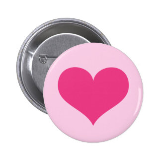 Hot pink heart love or Valentines day Pinback Button