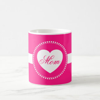 Hot Pink Heart Mom Coffee Mug Mothers Day Gifts
