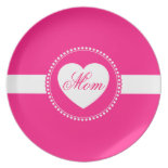 Hot Pink Heart Mom Melamine Plate Mothers Day Gift