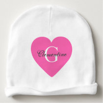 Hot Pink Heart Name Initial Monogram Baby Beanie