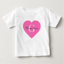 Hot Pink Heart Name Initial Monogram Baby T-Shirt