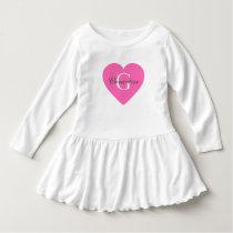 Hot Pink Heart Name Initial Monogram Dress