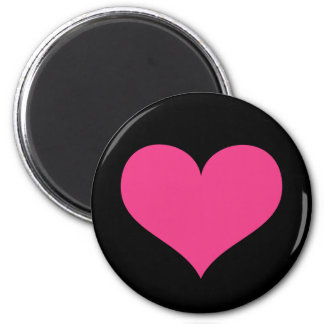 Hot pink heart on black love or Valentines day 2 Inch Round Magnet