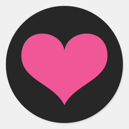 Hot Pink Heart On Black Love Or Valentines Day Clic Round Sticker Zazzle
