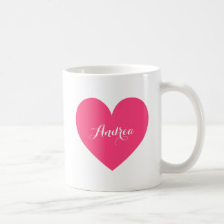 Hot Pink Heart Personalized Script Mug