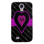 Hot Pink Heart & Ribbon, Diamonds Galaxy S4 Covers