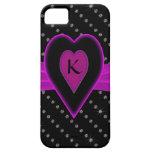 Hot Pink Heart & Ribbon, Diamonds iPhone 5 Cases