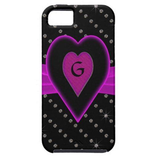Hot Pink Heart & Ribbon, Diamonds iPhone 5 Cover