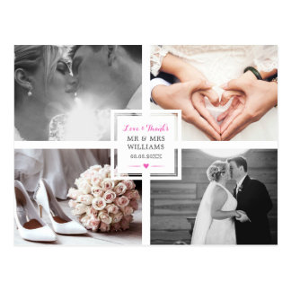Hot Pink Heart Wedding Photo Collage Love & Thanks Postcard