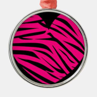 Hot Pink Heart Zebra Stripes on Black Metal Ornament