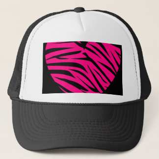 Hot Pink Heart Zebra Stripes on Black Trucker Hat
