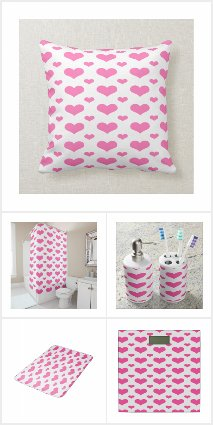 Hot Pink Hearts Bath & Bed Collection