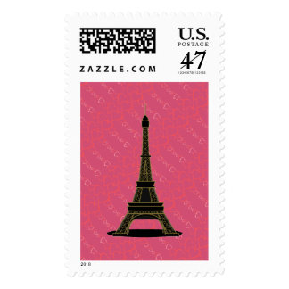 Hot Pink Hearts & Black Eiffel Tower Stamp