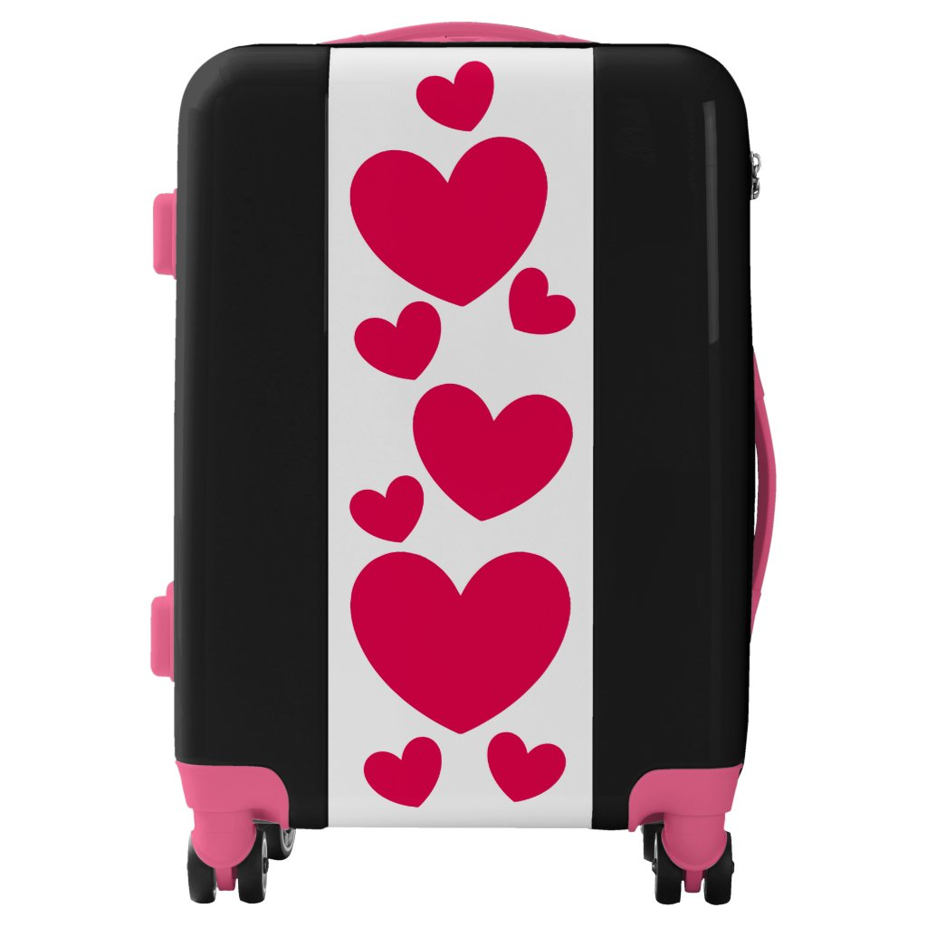 Pink Hearts Design Girly Suitcase