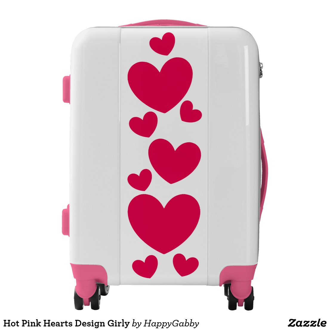Hot Pink Hearts Design Girly Luggage