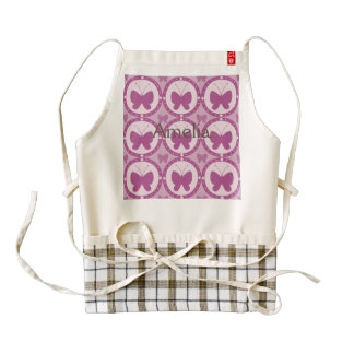 Hot pink, hearts,gingham,butterflies,cute,girly, zazzle HEART apron