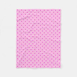 Hot Pink Hearts Pattern Fleece Blanket