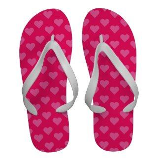 Hot Pink Hearts Pattern Neon Bright Pink Heart Flip-Flops