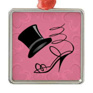 Hot Pink Hearts Top Hat and High Heels Metal Ornament