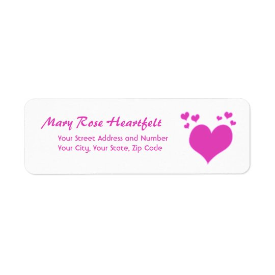 Hot Pink Hearts Valentine's Day or Wedding Label