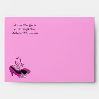 Hot Pink Heels Quinceanera Envelope