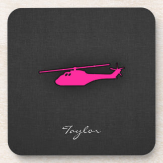 Hot Pink Helicopter Drink Coaster
