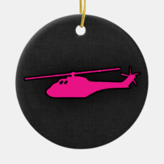Hot Pink Helicopter Double-Sided Ceramic Round Christmas Ornament