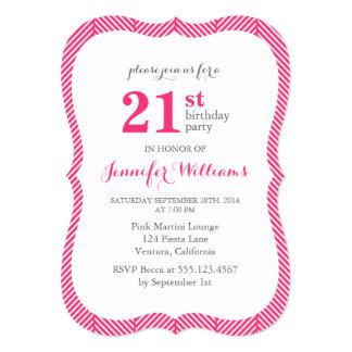 Hot Pink Herringbone Pattern Birthday Party Card