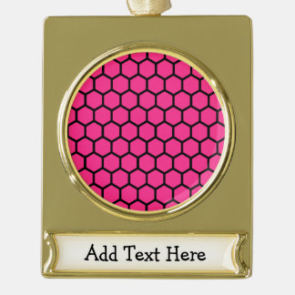 Hot Pink Hexagon 4 Gold Plated Banner Ornament