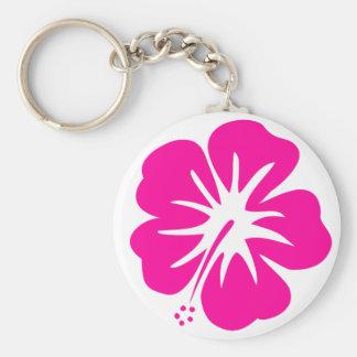 Hot Pink Hibiscus Basic Round Button Keychain
