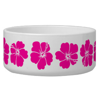 Hot Pink Hibiscus Flower Dog Bowls