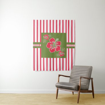 Hawaiian Themed Hot Pink Hibiscus Flower with Bold Tropical Stripe Tapestry