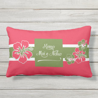 Hot Pink Hibiscus Hawaiian Welcome to Paradise Outdoor Pillow