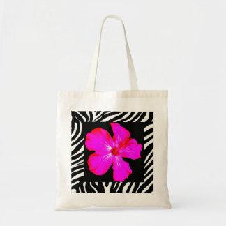Hot Pink Hibiscus on Zebra Print Tote