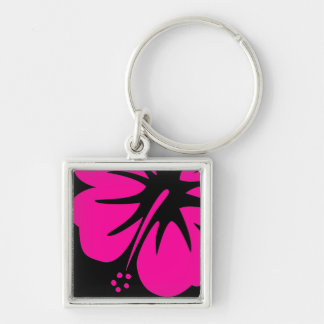 Hot Pink Hibiscus Silver-Colored Square Keychain