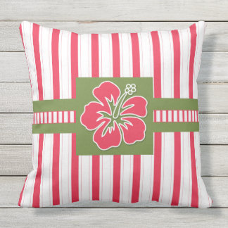 Hot Pink Hibiscus with Stripes Monogram Outdoor Pillow