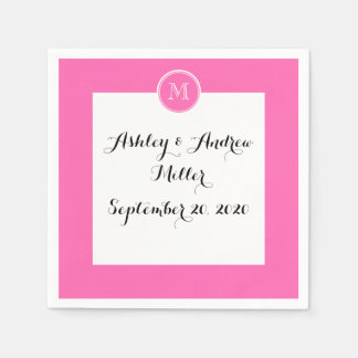 Hot Pink High End Colored Personalized Disposable Napkin