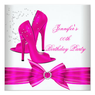 Hot Pink High Heel Shoe Birthday Party Card