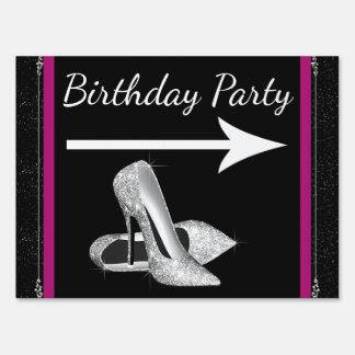 Hot Pink High Heel Shoe Birthday Party Lawn Sign